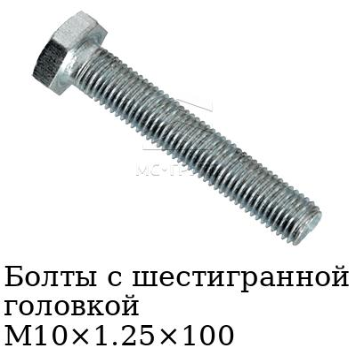 Болты с шестигранной головкой М10×1.25×100 с мелким шагом резьбы (hex), стандарт DIN 960, класс прочности 8.8