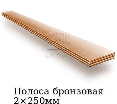Полоса бронзовая 2×250мм, марка БрБ2