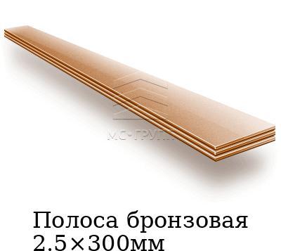 Полоса бронзовая 2.5×300мм, марка БрАМц9-2