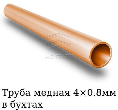 Труба медная 4×0.8мм в бухтах, марка М1м