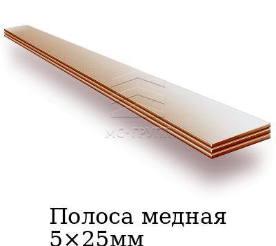 Полоса медная 5×25мм, марка М1тв