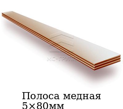 Полоса медная 5×80мм, марка М1тв