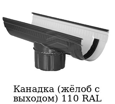 Канадка (жёлоб с выходом) 110 RAL