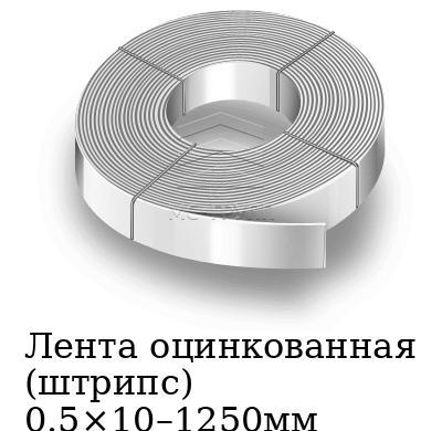 Лента оцинкованная (штрипс) 0.5×10–1250мм, марка 08пс, 08кп, 08ю