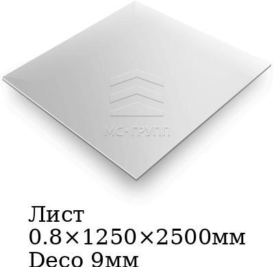 Лист 0.8×1250×2500мм Deco 9мм, марка AISI 304 (08Х18Н10)