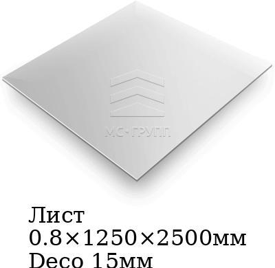 Лист 0.8×1250×2500мм Deco 15мм, марка AISI 304 (08Х18Н10)
