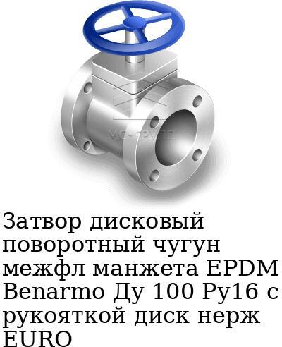 Затвор дисковый поворотный чугун межфл манжета EPDM Benarmo Ду 100 Ру16 с рукояткой диск нерж EURO