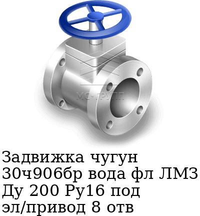 Задвижка чугун 30ч906бр вода фл ЛМЗ Ду 200 Ру16 под эл/привод 8 отв