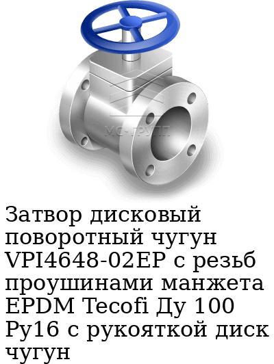 Затвор дисковый поворотный чугун VPI4648-02EP с резьб проушинами манжета EPDM Tecofi Ду 100 Ру16 с рукояткой диск чугун