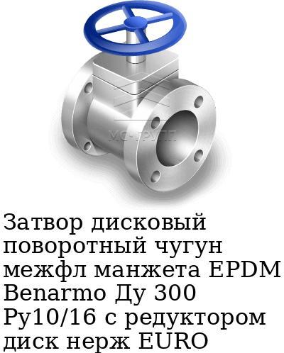 Затвор дисковый поворотный чугун межфл манжета EPDM Benarmo Ду 300 Ру10/16 с редуктором диск нерж EURO