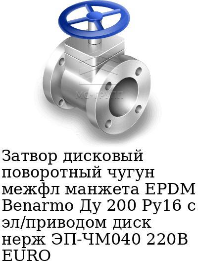 Затвор дисковый поворотный чугун межфл манжета EPDM Benarmo Ду 200 Ру16 с эл/приводом диск нерж ЭП-ЧМ040 220В EURO