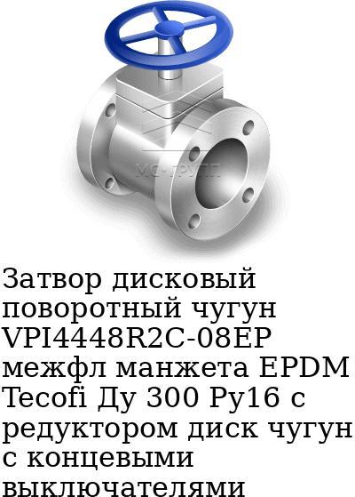 Затвор дисковый поворотный чугун VPI4448R2C-08EP межфл манжета EPDM Tecofi Ду 300 Ру16 с редуктором диск чугун с концевыми выключателями