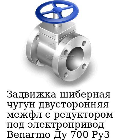 Задвижка шиберная чугун двусторонняя межфл с редуктором под электропривод Benarmo Ду 700 Ру3