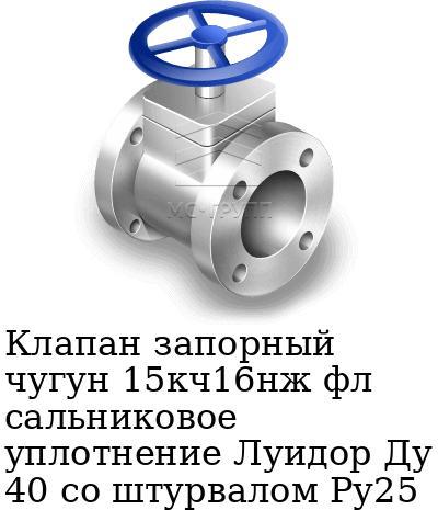 Клапан запорный чугун 15кч16нж фл сальниковое уплотнение Луидор Ду 40 со штурвалом Ру25
