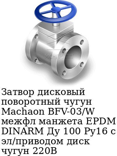 Затвор дисковый поворотный чугун Machaon BFV-03/W межфл манжета EPDM DINARM Ду 100 Ру16 с эл/приводом диск чугун 220В