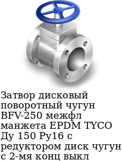 Затвор дисковый поворотный чугун BFV-250 межфл манжета EPDM TYCO Ду 150 Ру16 с редуктором диск чугун с 2-мя конц выкл