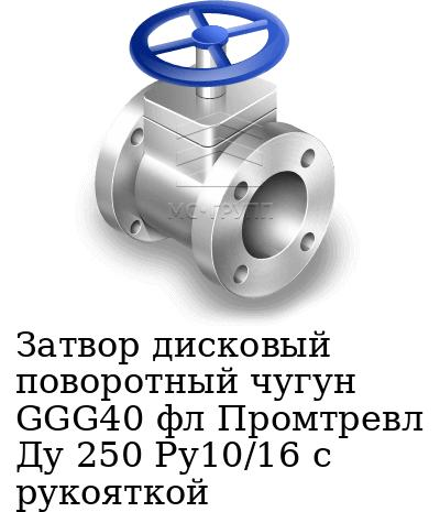 Затвор дисковый поворотный чугун GGG40 фл Промтревл Ду 250 Ру10/16 с рукояткой