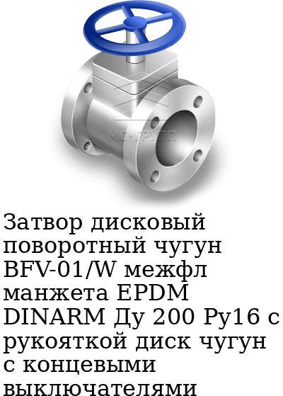 Затвор дисковый поворотный чугун BFV-01/W межфл манжета EPDM DINARM Ду 200 Ру16 с рукояткой диск чугун с концевыми выключателями