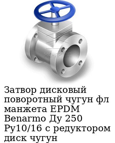 Затвор дисковый поворотный чугун фл манжета EPDM Benarmo Ду 250 Ру10/16 с редуктором диск чугун