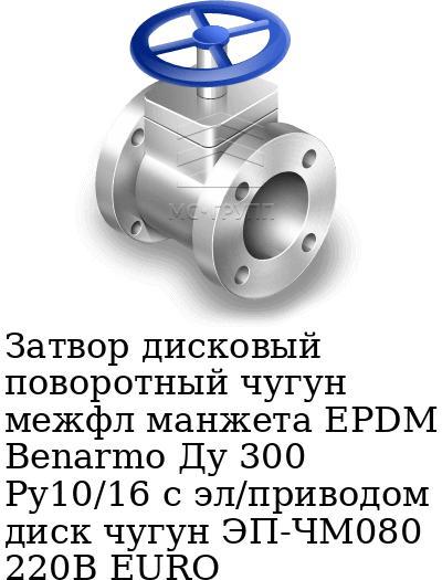 Затвор дисковый поворотный чугун межфл манжета EPDM Benarmo Ду 300 Ру10/16 с эл/приводом диск чугун ЭП-ЧМ080 220В EURO