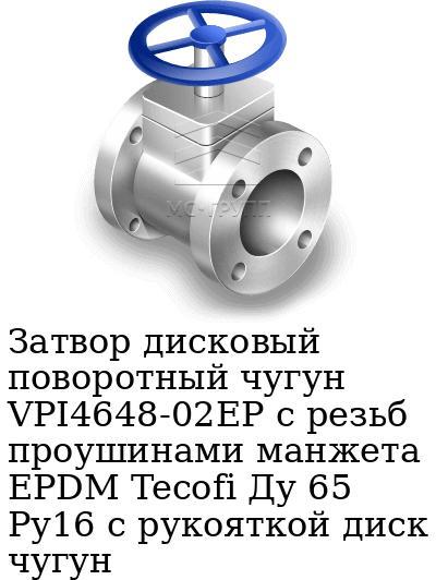 Затвор дисковый поворотный чугун VPI4648-02EP с резьб проушинами манжета EPDM Tecofi Ду 65 Ру16 с рукояткой диск чугун