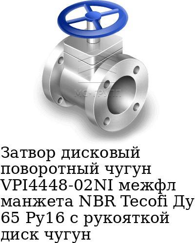 Затвор дисковый поворотный чугун VPI4448-02NI межфл манжета NBR Tecofi Ду 65 Ру16 с рукояткой диск чугун