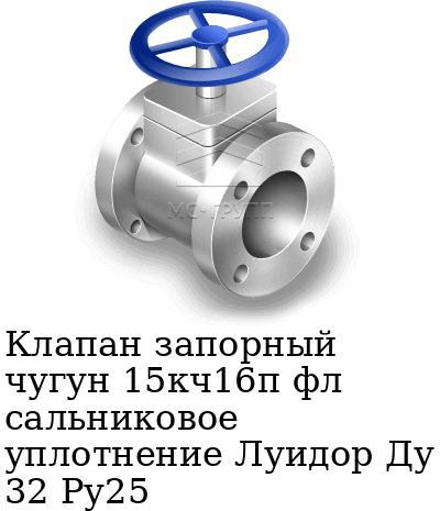 Клапан запорный чугун 15кч16п фл сальниковое уплотнение Луидор Ду 32 Ру25
