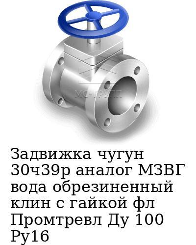 Задвижка чугун 30ч39р аналог МЗВГ вода обрезиненный клин c гайкой фл Промтревл Ду 100 Ру16