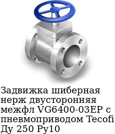 Задвижка шиберная нерж двусторонняя межфл VG6400-03EP с пневмоприводом Tecofi Ду 250 Ру10