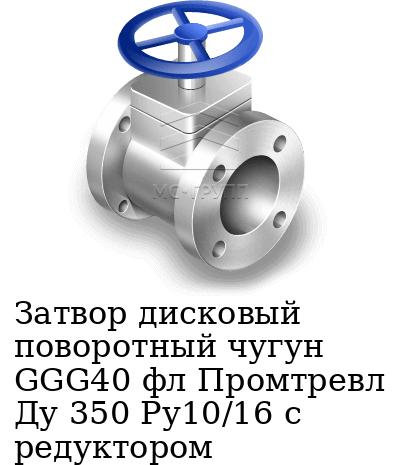 Затвор дисковый поворотный чугун GGG40 фл Промтревл Ду 350 Ру10/16 с редуктором