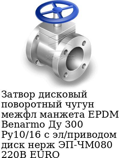 Затвор дисковый поворотный чугун межфл манжета EPDM Benarmo Ду 300 Ру10/16 с эл/приводом диск нерж ЭП-ЧМ080 220В EURO