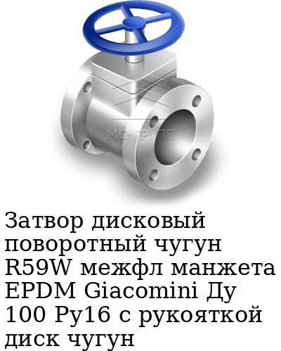Затвор дисковый поворотный чугун R59W межфл манжета EPDM Giacomini Ду 100 Ру16 с рукояткой диск чугун