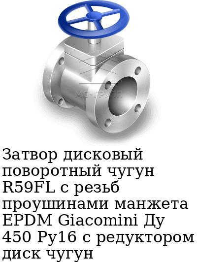 Затвор дисковый поворотный чугун R59FL с резьб проушинами манжета EPDM Giacomini Ду 450 Ру16 с редуктором диск чугун