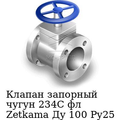 Клапан запорный чугун 234C фл Zetkama Ду 100 Ру25