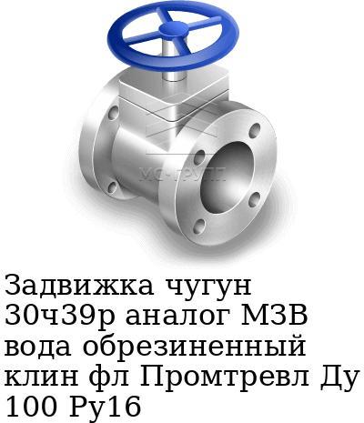 Задвижка чугун 30ч39р аналог МЗВ вода обрезиненный клин фл Промтревл Ду 100 Ру16