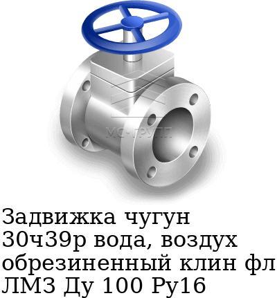 Задвижка чугун 30ч39р вода, воздух обрезиненный клин фл ЛМЗ Ду 100 Ру16