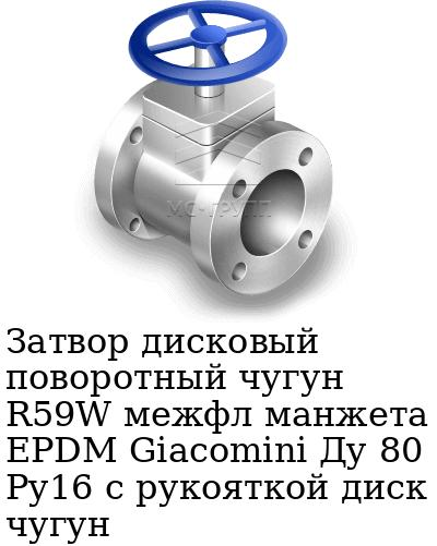 Затвор дисковый поворотный чугун R59W межфл манжета EPDM Giacomini Ду 80 Ру16 с рукояткой диск чугун